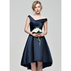 A-Linie Off-the-Schulter Asymmetrisch Satin Abiballkleid (022089750)