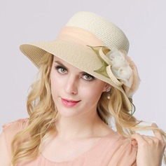 Ladies ' Romantisk Organzastof/Raffia Straw med Silke Blomst Stråhat/Tea Party Hats