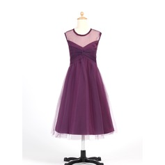 A-Line/Princess Tea-length Flower Girl Dress - Tulle Sleeveless Scoop Neck With Ruffles (010007655)
