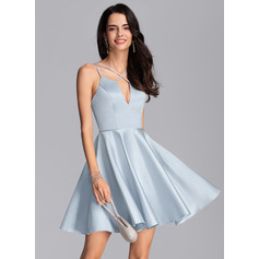 A-Line V-neck Short/Mini Satin Cocktail Dress