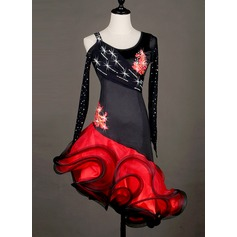 Women's Dancewear Spandex Organza Latin Dance Dresses
