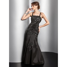 A-Line/Princess Floor-Length Taffeta Evening Dress With Ruffle Beading Appliques Lace