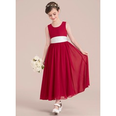 Empire/A-Line Ankle-length Flower Girl Dress - Chiffon/Satin Sleeveless Scoop Neck With Sash/Bow(s)