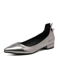 Femmes PVC Talon plat Chaussures plates Bout fermé avec Strass chaussures
