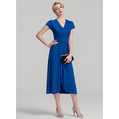 A-Line V-neck Asymmetrical Jersey Mother of the Bride Dress With Ruffle
