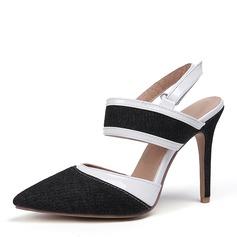 Femmes Similicuir Treillis Talon stiletto Sandales Escarpins Bout fermé Escarpins chaussures