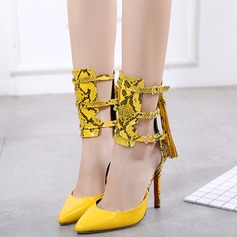 Women's Leatherette Stiletto Heel Sandals Pumps Closed Toe With Zipper Tassel Split Joint shoes