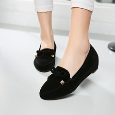Women's Suede Flat Heel Closed Toe Wedges With Bowknot shoes