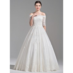 Ball-Gown Off-the-Shoulder Floor-Length Tulle Wedding Dress With Ruffle Beading Sequins