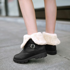 Women's PU Wedge Heel Boots Mid-Calf Boots With Buckle shoes