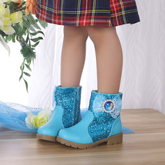 Girl's Round Toe Closed Toe Ankle Boots Leatherette Low Heel Flats Boots Flower Girl Shoes With Bowknot Zipper