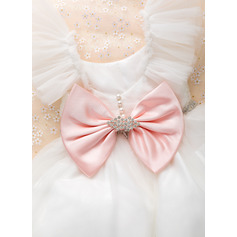 Ball-Gown/Princess Floor-length Flower Girl Dress - Tulle Sleeveless Square Neckline With Beading/Bow(s)