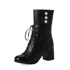 Women's Suede PU Chunky Heel Pumps Boots Mid-Calf Boots With Imitation Pearl Lace-up shoes