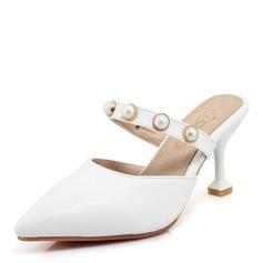 Frauen Veloursleder PU Stöckel Absatz Sandalen Absatzschuhe mit Nachahmungen von Perlen Schuhe