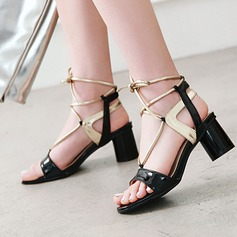 Women's PU Chunky Heel Sandals Pumps Peep Toe Slingbacks With Lace-up shoes
