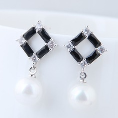 Shining Imitation Pearls Zircon Copper With Zircon Women's Fashion Earrings