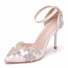 Women's Leatherette Spool Heel Closed Toe Pumps With Crystal (047182372)