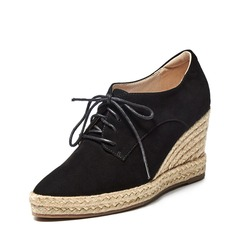 Women's Real Leather Wedge Heel Closed Toe Wedges With Lace-up shoes