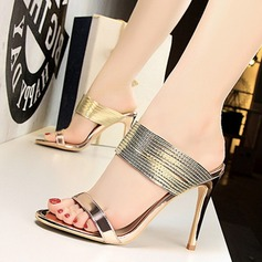 Women's Patent Leather Stiletto Heel Sandals Pumps Peep Toe With Others shoes (087171581)