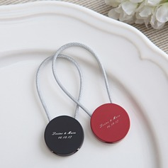 Personalized Round Alloy Keychains (Set of 4)
