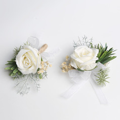 Simple And Elegant Free-Form Cloth Flower Sets - Wrist Corsage/Boutonniere
