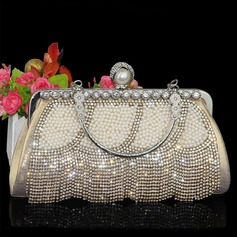 Shining Crystal/ Rhinestone/Polyester/Imitation Pearl Clutches/Wristlets/Top Handle