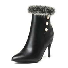 Women's PU Stiletto Heel Pumps Boots With Imitation Pearl shoes