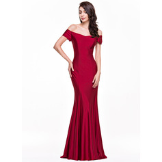 Trumpet/Mermaid Off-the-Shoulder Floor-Length Jersey Evening Dress