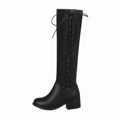 Vrouwen Kunstleer Low Heel Closed Toe Laarzen Knie Lengte Laarzen met Vastrijgen Elastiek schoenen