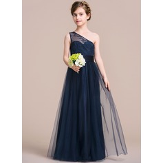 A-Line/Princess One-Shoulder Floor-Length Tulle Junior Bridesmaid Dress With Ruffle (009095099)