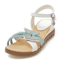 Donna Similpelle Zeppe Sandalo Punta aperta con Bowknot Fibbia scarpe