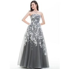 A-Line/Princess Strapless Floor-Length Tulle Prom Dresses With Sequins (018105691)
