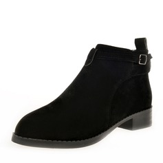 Women's Suede Low Heel Boots Ankle Boots With Buckle Zipper shoes