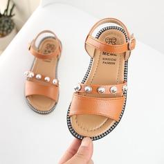 tytön Peep toe tekonahka Flat Heel Sandaalit jossa Solki Tekojalokivi Tarranauha Niitti