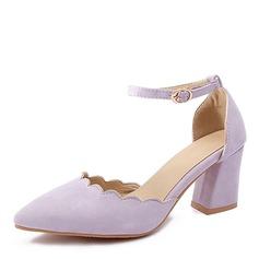 Mulheres Couro Salto robusto Sandálias Bombas Fechados com Fivela sapatos