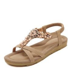 Женщины кожа Плоский каблук Сандалии Открытый мыс Босоножки с горный хрусталь Цветок Эластичная лента обувь
