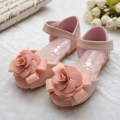 Girl's Peep Toe Leatherette Flat Heel Sandals Flats Flower Girl Shoes With Bowknot Satin Flower Velcro (207111961)