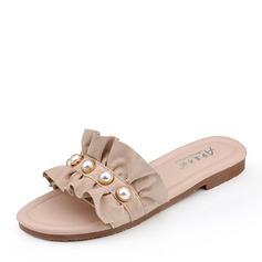 Femmes Suède Talon plat Sandales Chaussures plates À bout ouvert avec Perle d'imitation chaussures
