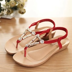 Women's Suede Wedge Heel Sandals Peep Toe Slingbacks With Beading Elastic Band shoes