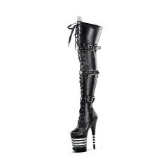 Women's PVC Stiletto Heel Pumps Platform Boots With Zipper shoes