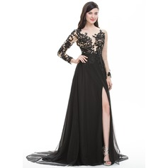 A-Line/Princess Scoop Neck Sweep Train Tulle Prom Dress With Beading Sequins Split Front (018105702)