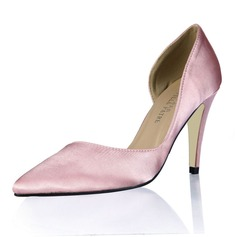 Women's Silk Like Satin Stiletto Heel Pumps Closed Toe shoes