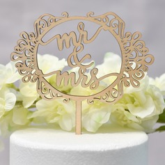 Classic Couple/Mr. & Mrs. Wood Cake Topper (Sold in a single piece)