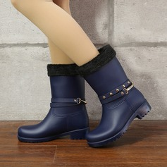 Women's PVC Low Heel Boots Mid-Calf Boots Rain Boots With Sequin Rivet shoes