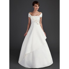 Ball-Gown Off-the-Shoulder Floor-Length Satin Wedding Dress With Ruffle Beading Flower(s) Sequins