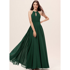 A-Line Scoop Neck Floor-Length Chiffon Bridesmaid Dress (007233657)