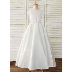 Ball-Gown/Princess Floor-length Flower Girl Dress - Satin/Lace Short Sleeves Scoop Neck With Beading/Bow(s) (010164720)