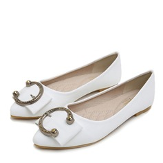 Women's Leatherette Flat Heel Flats Closed Toe With Bowknot Buckle shoes