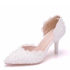 Women's Leatherette Spool Heel Closed Toe Pumps Sandals With Crystal Heel Applique