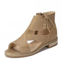 Femmes Vrai cuir Talon bas Sandales Chaussures plates À bout ouvert avec Zip chaussures